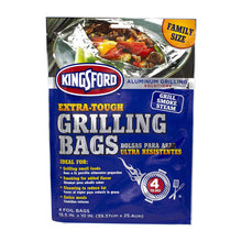 "Load image into Gallery viewer, Extra Tough Aluminum Grill Bags, For Locking in Flavors & Easy Grill Clean Up, Recyclable & Disposable, 15.5"" x 10"", Pack of 4, High Quality Aluminum Grill Bags.., By Kingsford"
