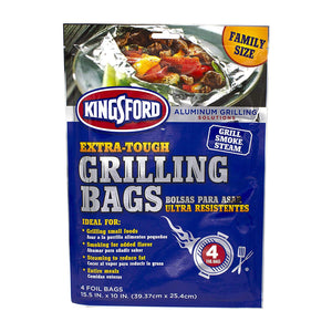 "Extra Tough Aluminum Grill Bags, For Locking in Flavors & Easy Grill Clean Up, Recyclable & Disposable, 15.5"" x 10"", Pack of 4, High Quality Aluminum Grill Bags.., By Kingsford"