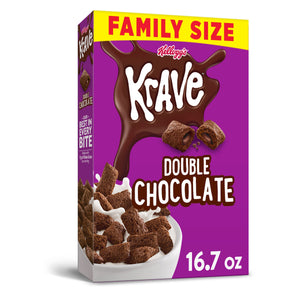 Kellogg's Krave, Breakfast Cereal, Double Chocolate, Family Size, 16.7 Oz
