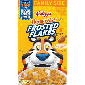 Kellogg's Frosted Flakes, Breakfast Cereal, Honey Nut, Family Size, 24.5 Oz