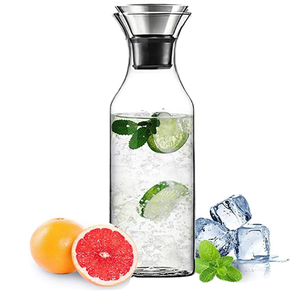 Heat Resistant Glass Carafe with Stainless Steel Silicone Flip-top Lid - Glass Water Pitcher Fridge Ice Tea Maker, 1000ml/35oz