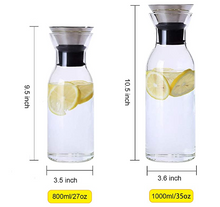 Load image into Gallery viewer, Heat Resistant Glass Carafe with Stainless Steel Silicone Flip-top Lid - Glass Water Pitcher Fridge Ice Tea Maker, 1000ml/35oz
