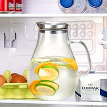 Load image into Gallery viewer, 2 liter glass pitcher water jug juice carafe with lid and spout for homemade beverage