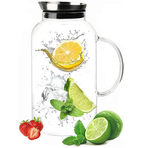 Glass Pitcher, Drip-Free Water Pitcher With Tight Lid and Pretty Brush 75 Ounces