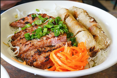 Bún Nem Nướng Chả Giò Vermicelli Grilled Pork ham with egg roll, fresh vegetable and sweat and sour fish sauce