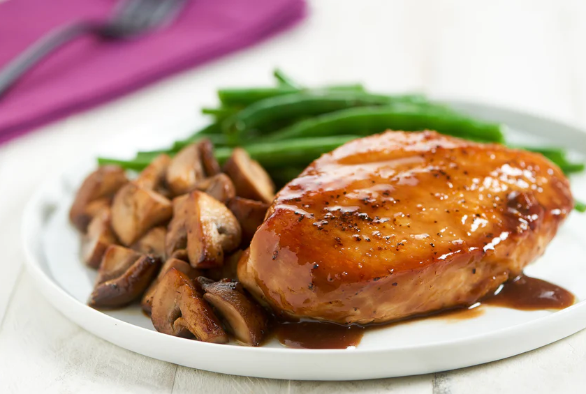 Balsamic and Fig-Glazed Chicken Breast with rosemary mushrooms and green beans