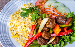 Shaked Beef Over Fried Rice