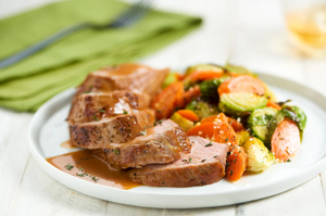 Cider Beurre Blanc Pork Tenderloin with Parmesan-roasted carrots and Brussels sprouts