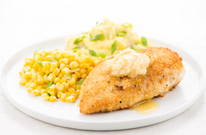 Crispy Panko-Crusted Chicken and Honey Butter with mashed potatoes and corn