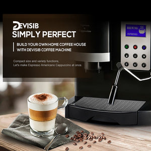 DEVISIB Professional Coffee Machine Coffee Maker with Grinder Automatic Americano China Tea Cafetera Espresso Kitchen Appliances