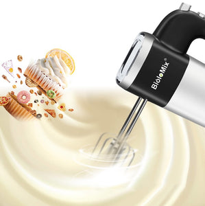 BioloMix 5-Speed 500W Electric Hand Mixer Handheld Kitchen Dough Blender With 2 Egg Beaters and Dough Hooks