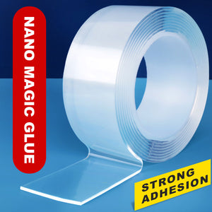 1/2/3/5M Reusable Nano Magic Tape Washable Double-sided Adhesive Tape Kitchen Home Furniture Decor Waterproof No Traces Tape
