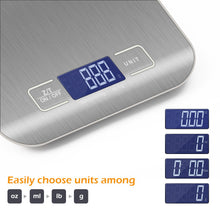 Load image into Gallery viewer, 10kg/5Kg OZ/ML/LB/G Kitchen Scale Stainless Steel Weighing Scale Food Diet Postal Balance Measuring Tool LCD Electronic Scales