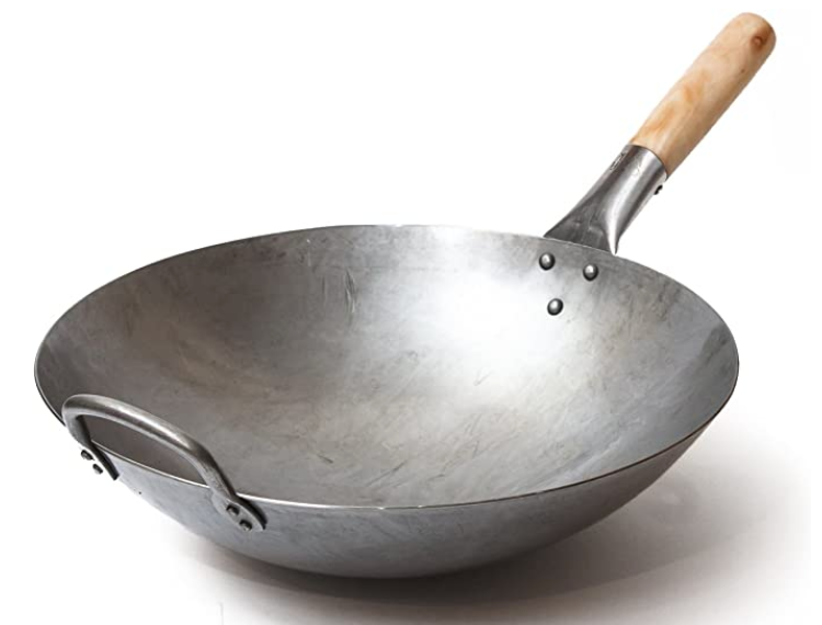 Craft Wok Traditional Hand Hammered Carbon Steel Pow Wok with Wooden and Steel Helper Handle (14 Inch, Round Bottom)