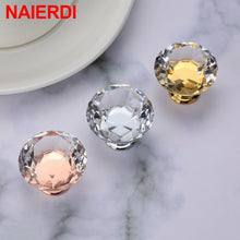 Load image into Gallery viewer, NAIERDI Gold Base Diamond Shape Design Crystal Glass Knobs Cupboard Pulls Drawer Knobs Kitchen Cabinet Handles Furniture Handle