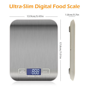 10kg/5Kg OZ/ML/LB/G Kitchen Scale Stainless Steel Weighing Scale Food Diet Postal Balance Measuring Tool LCD Electronic Scales