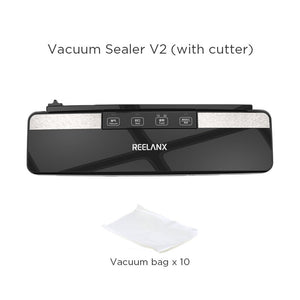 REELANX Vacuum Sealer Lite V2 Built-in Cutter 220V Automatic Food Packing Machine 10 Free Bags Best Vacuum Packer for Kitchen