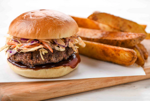 Japanese BBQ Burger with smoky potato wedges