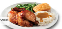 Load image into Gallery viewer, Half Chicken Includes 2 regular sides and cornbread.