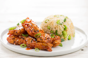 Korean Fried Chicken with edamame rice