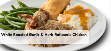 Our signature rotisserie chicken topped with a light garlic cream sauce with herbs and Parmesan cheese topped with a toasted herb crunch. Includes 2 regular sides and cornbread.