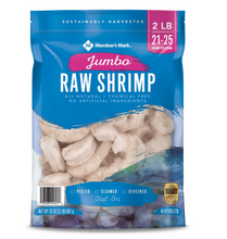 Load image into Gallery viewer, Raw Jumbo Shrimp, Frozen (2 lb. bag, 21 - 25 shrimp per pound)