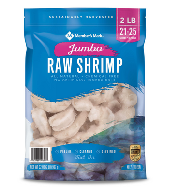 Raw Jumbo Shrimp, Frozen (2 lb. bag, 21 - 25 shrimp per pound)