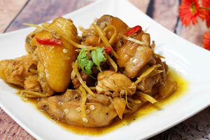 Thịt Gà Rang Gừng Pan Fried low cooked white meat chicken with ginger
