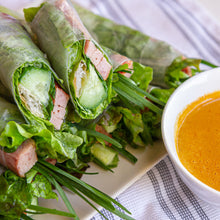 Load image into Gallery viewer, Vietnamese Grilled/Baked Pork Sausage Spring Rolls with Orange Dipping Sauce (Nem Nuong Nha Trang)