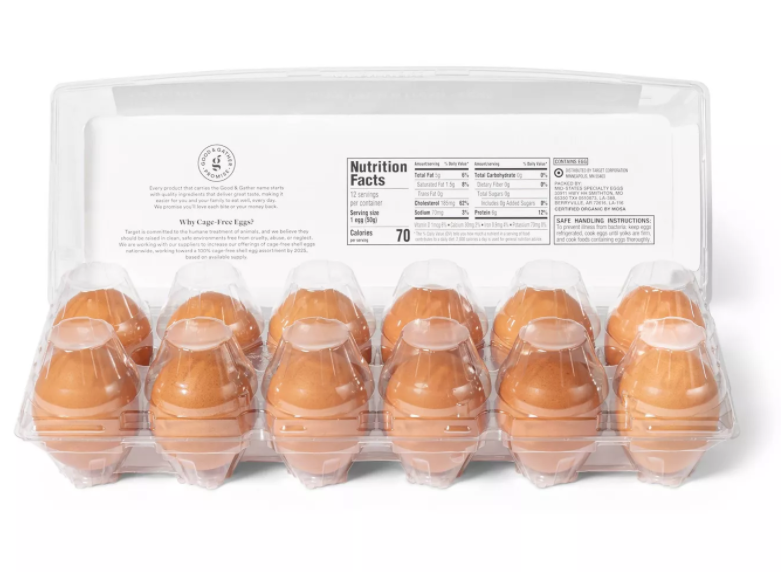 Organic Cage-Free Fresh Grade A Large Brown Eggs - 12ct