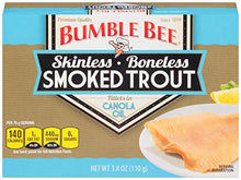 Load image into Gallery viewer, BUMBLE BEE Skinless and Boneless Smoked Trout Fillets in Canola Oil, High Protein Food, Keto Food, Gluten Free Food, High Protein Snacks, Canned Food, Bulk Smoked Trout, 3.8 Ounce Cans (Pack of 12)