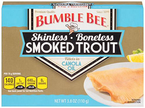 BUMBLE BEE Skinless and Boneless Smoked Trout Fillets in Canola Oil, High Protein Food, Keto Food, Gluten Free Food, High Protein Snacks, Canned Food, Bulk Smoked Trout, 3.8 Ounce Cans (Pack of 12)
