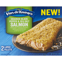 Load image into Gallery viewer, Van de Kamps Cracked Black Pepper & Sea Salt Salmon - 2 CT9.0 OZ