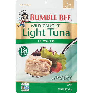BUMBLE BEE Premium Light Tuna In Water Pouches, Tuna Fish Pouch, High Protein Food, Keto Food and Snacks, Gluten Free Food, High Protein Snacks, Bulk Tuna Pouches, 5 Ounce (Pack of 12)