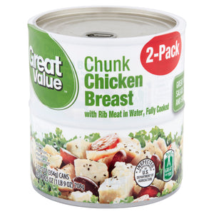 (2 Cans) Great Value Chunk Chicken Breast in Water, 12.5 oz