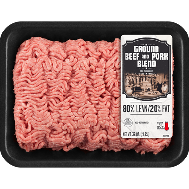 80% Lean/20% Fat Ground Beef and Pork Blend Tray, 2 lb