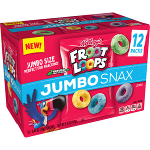 Kellogg's Froot Loops Jumbo Snax, Cereal Snacks, Original, 12 Ct, 5.4 Oz