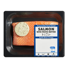 Load image into Gallery viewer, Fresh Atlantic Salmon Portions with Pesto butter, 0.85 – 1.0 lb
