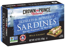 Load image into Gallery viewer, Crown Prince Natural Skinless & Boneless Sardines in Water, 4.37-Ounce Cans (Pack of 12)