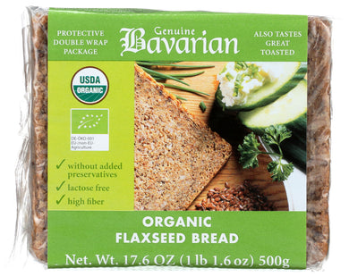 (6 Pack) Genuine Bavarian Bread, Flaxseed, Organic, 17.6 Oz.
