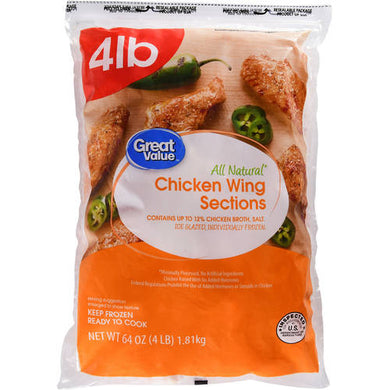 Great Value All Natural Chicken Wing Sections, 64 oz