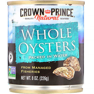 Crown Prince Natural, Boiled Whole Oysters, Packed In Water, 8 oz (pack of 12)