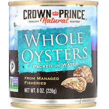 Load image into Gallery viewer, Crown Prince Natural, Boiled Whole Oysters, Packed In Water, 8 oz (pack of 12)