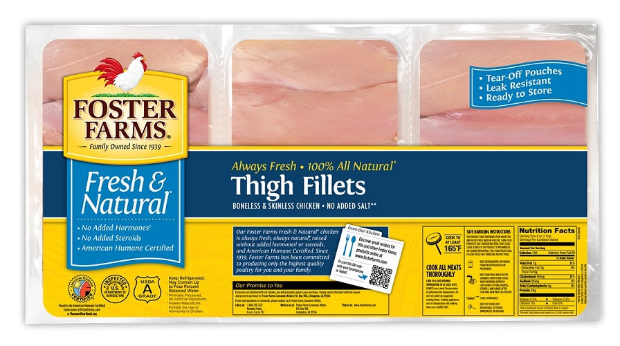 Foster Farms Fresh Chicken Thighs with skin and bone - Family Size