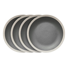 Load image into Gallery viewer, Stone Lain 16-Piece Stoneware Round Dinnerware Set, Service for 4 in 2 Tone Dark Gray and Cream with Speckle Dishes