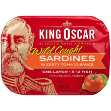 Load image into Gallery viewer, King Oscar Sardines 1-Layer Zesty Tomato 3.75 ounces