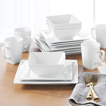 Load image into Gallery viewer, Better Homes & Gardens 16 Piece Square Dinnerware Set, White