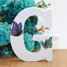 Load image into Gallery viewer, 1pc 10X10cm Hand Made Animals Shape Wedding Butterfly Wooden Letters Decorative Alphabet Word Letter Name Design Art Crafts DIY