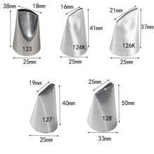 Load image into Gallery viewer, 5pcs #123#124K#126K#127K#128 Stianless Steel Icing Piping Nozzles Set Cake Decoraitng Tips Cupcake Cream Icing Piping Nozzles