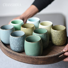 Load image into Gallery viewer, CHANSHOVA 250ml Solid Color Traditional Chinese Style Celadon Crackle Ceramic Teacup China Porcelain Small Coffee Tea Cups H318